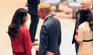 Matthew Rycroft, the UK Ambassador to the United Nations, with Amal Clooney in Inside The Foreign Office, BBC Two.