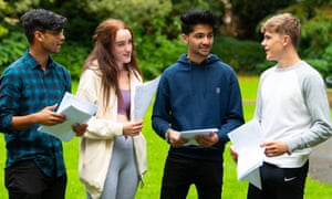 Students at Ffynone House school in Swansea discuss their A-level results.