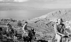 Norwegian expatriate Marianne Ihlen, right, with Leonard Cohen and friends on a donkey trek on Hydra, 1960.