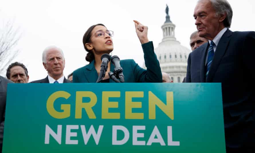Biden has shied away from the term Green New Deal, promoted by Alexandria Ocasio-Cortez, centre, and Senator Ed Markey, right, but has embraced a bold agenda.