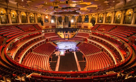 An empty interior of the Royal Albert Hall.