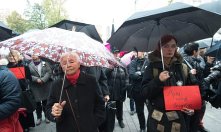Participants in a protest in Łodz, Poland, on Monday.