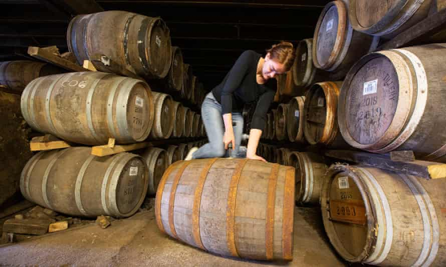 Christy McFarlane, Bruichladdich's global brand manager, with barrels of whisky