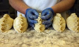 Cornish pasties being prepared in Bude, Cornwall