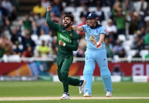 Shadab takes Roy, LBW for eight.