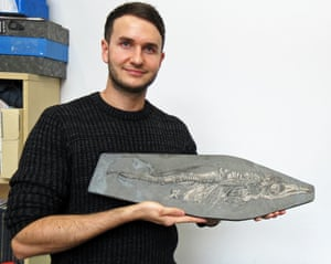 Dean Lomax with the newborn ichthyosaur from the collections of the Lapworth Museum of Geology, University of Birmingham