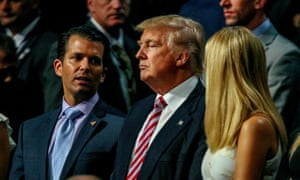 Donald Trump Jr., Donald Trump and Ivanka Trump stand together during the Republican National Convention in the Quicken Loans Arena.