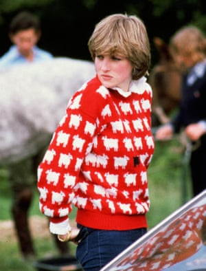 Lady Diana wears a wool jumper decorated with sheep to Windsor Polo, January 1981.