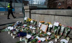 A makeshift memorial in Stockholm's Mynttorget square remembers loved ones lost to coronavirus.