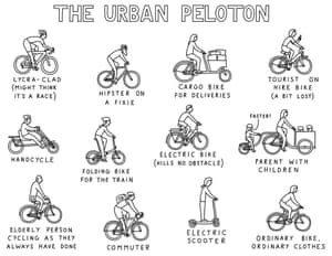 City cycling cartoon