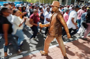 Cape Town, South Africa. Police in plain clothes during a protest
