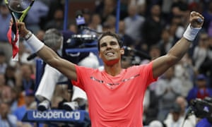 Rafael Nadal celebrates beating Andrey Rublev in quarter-finals of the US Open tennis at Flushing Meadows.