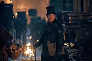 Guy Pearce as Ebenezer Scrooge in A Christmas Carol.