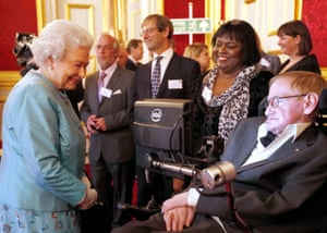 Stephen Hawking meeting Queen Elizabeth at a reception for the Leonard Cheshire disability charity at St James's Palace in 2014