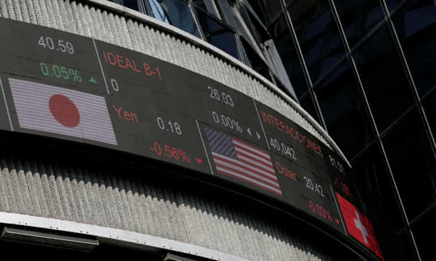 A screen displays foreign exchange prices outside Mexico's stock exchange earlier this month.
