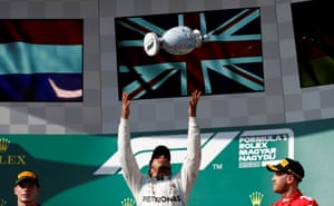 Lewis Hamilton celebrates winning the Hungarian Grand Prix.