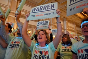 """Jaye Palazzo of Nevada, a supporter of Elizabeth Warren, cheers during the Nevada Democrats' """"First in the West"""" event at Bellagio Resort & Casino in Las Vegas, Nevada."""
