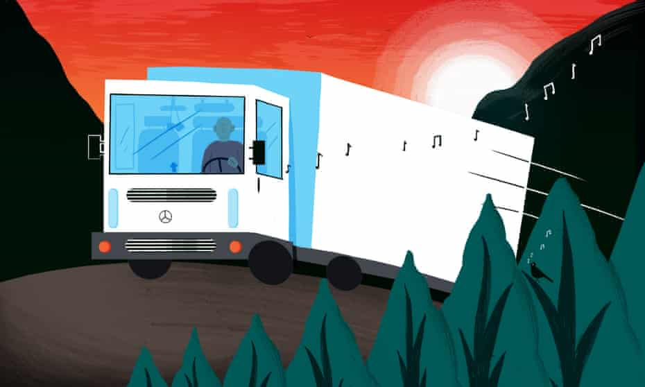 Illustration of a man driving a lorry
