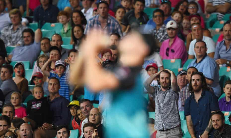 Mitchell Swepson of the Heat drops a catch during Sunday's Big Bash League match between the Sydney Sixers and the Brisbane Heat at the SCG.