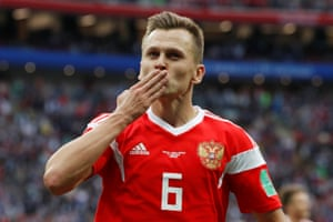 Cheryshev celebrates after scoring Russia's fourth goal.