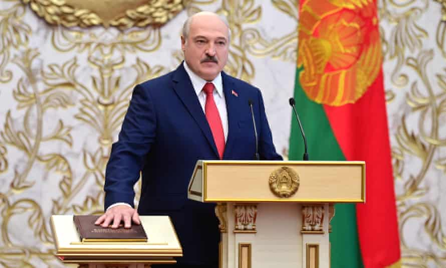 Alexander Lukashenko takes the oath of office during the inauguration ceremony.
