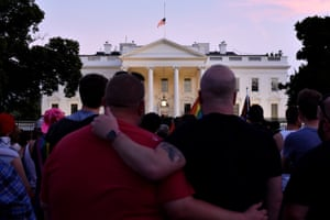 Washington DC, US. A vigil outside the White House where the US flag has been flying at half mast