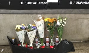 Floral tributes near Westminster tube station.