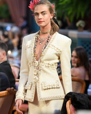 Cara Delevingne walks the runway in 2016 for Chanel in Paris