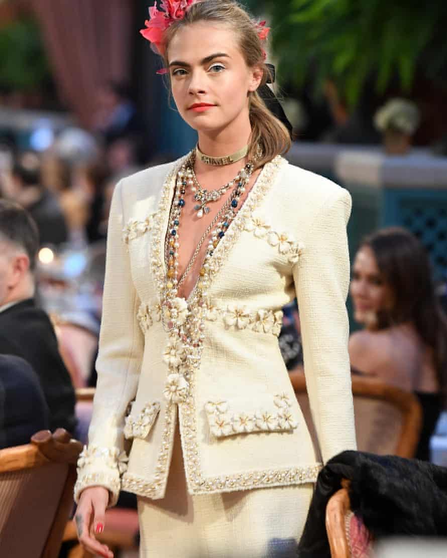 Cara Delevingne walks the runway in 2016 for Chanel in Paris
