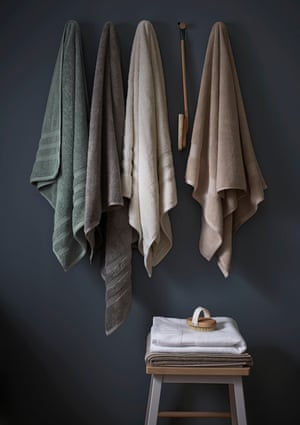 Towels made from recycled plastic bottles and regenerated cotton.
