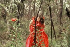 Nell Schofield wearing Jackson's Waratah evening dress, 1984.