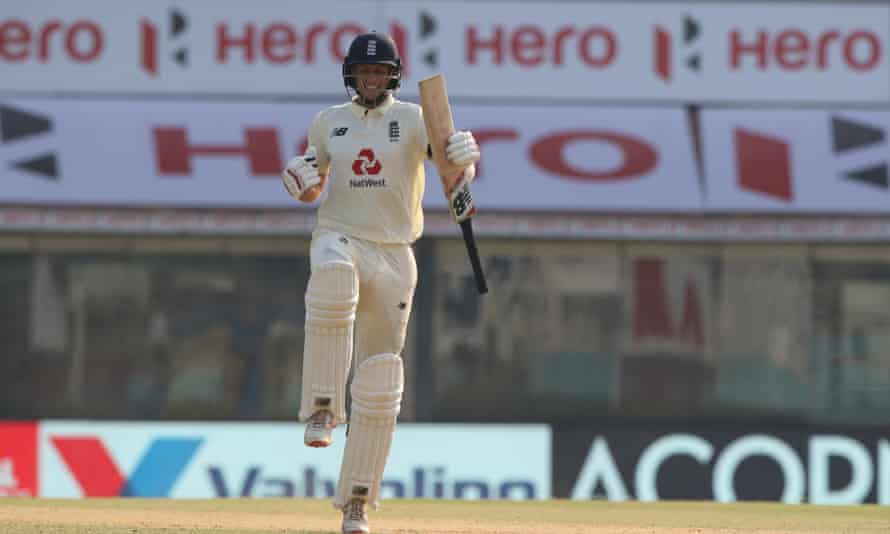 Joe Root celebrates after scoring a hundred during day one of the first Test match between India and England.