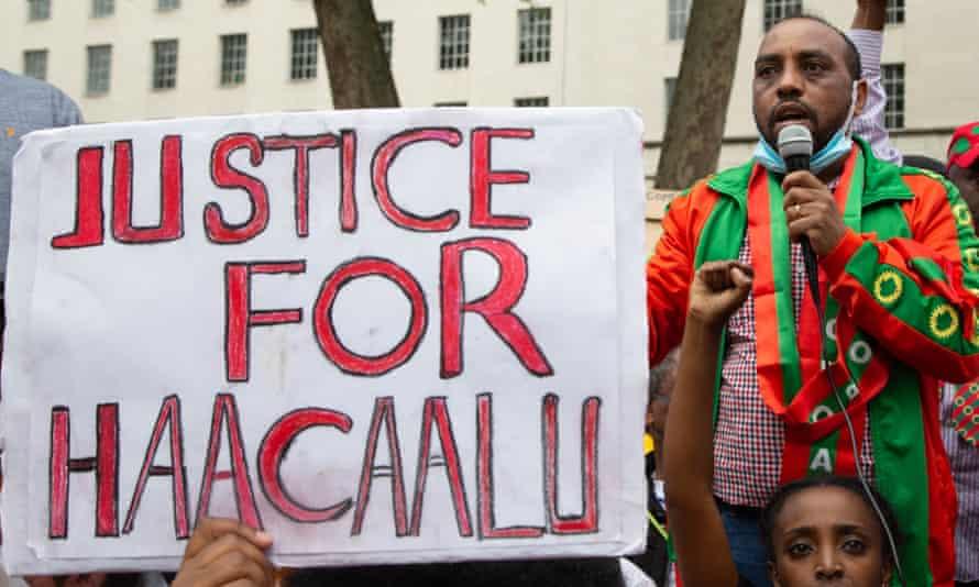 Protesters in London demand justice for Haacaaluu Hundeessaa.