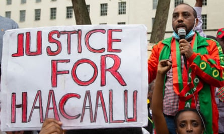 Protesters in London demand justice for Haacaaluu Hundeessaa.