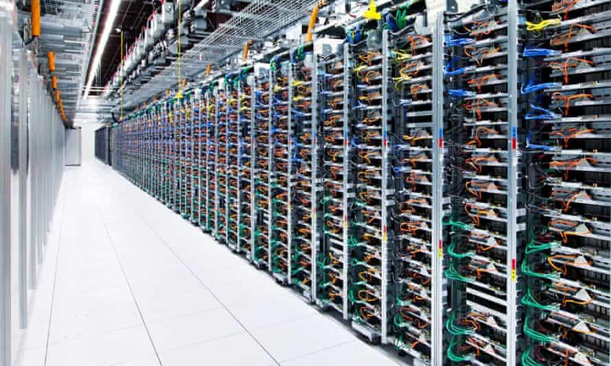 Long corridor of server racks