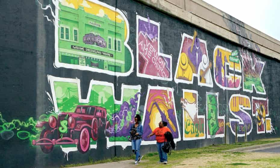 A mural in Tulsa, Oklahoma, home of the country's best-known Black Wall Street.
