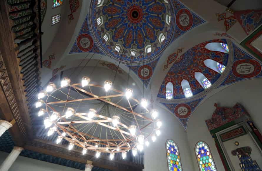 The revamped ceiling of the Ferhadija mosque.