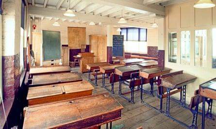 A Victorian schoolroom recreated in London's Ragged School museum.