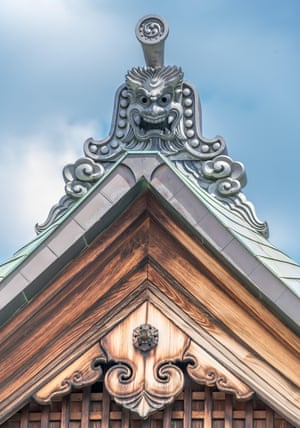 Onigawara (goblin mask tile) and Gegyo of Kanchi-in Shingon Buddhist temple located in Kyoto, Japan is one of the tatchu (sub-temple) of To-ji