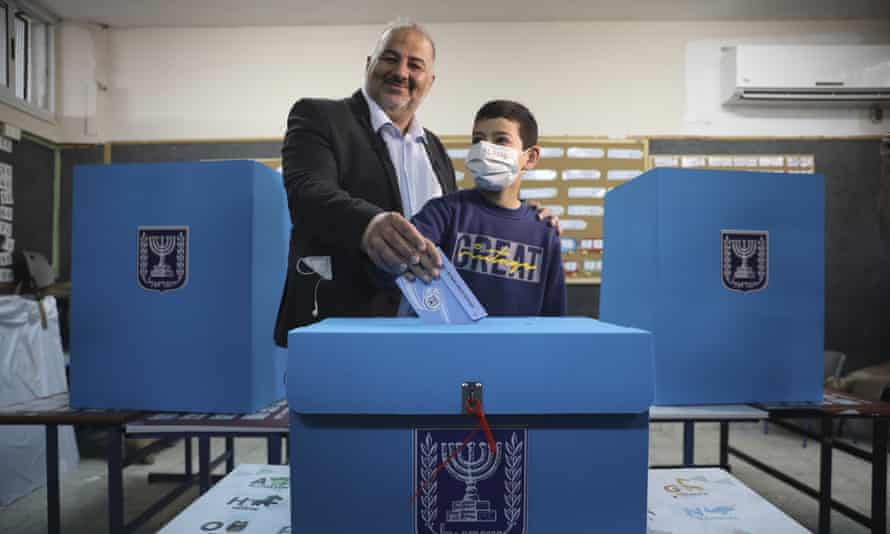Mansour Abbas, the leader of the United Arab List, casting his vote.