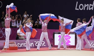 Team Russia celebrate winning the gold medal during the rhythmic gymnastics group all-around final at the 2012 Summer Olympics in London.