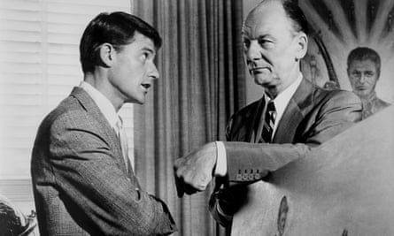 Roddy McDowall and John Gielgud in Tony Richardson's 1965 film of The Loved One.