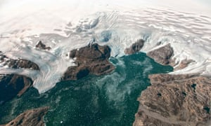 A Nasa Earth photo shows the Bruckner and Heim glaciers where they flow into the Johan Petersen fjord in southeastern Greenland.