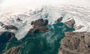 This NASA Earth Observatory file photo taken on September 22, 2016 and observed from the HU-25A Guardian aircraft shows the Bruckner and Heim glaciers where they flow into Johan Petersen Fjord in southeastern Greenland.