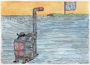 Blindfolded man in Union Jack chair underwater looking through periscope