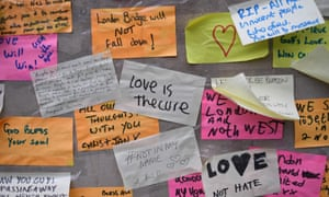 Messages of solidarity written stuck to a wall at the southern end of London Bridge following the 3 June terror attack.
