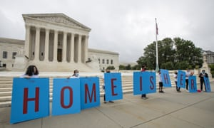 Deferred Action for Childhood Arrivals (Daca) students gather in front of the supreme court in Washington last month.