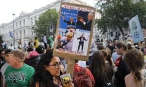 Demonstrators protest against Britain's new prime minister Boris Johnson in London in July.