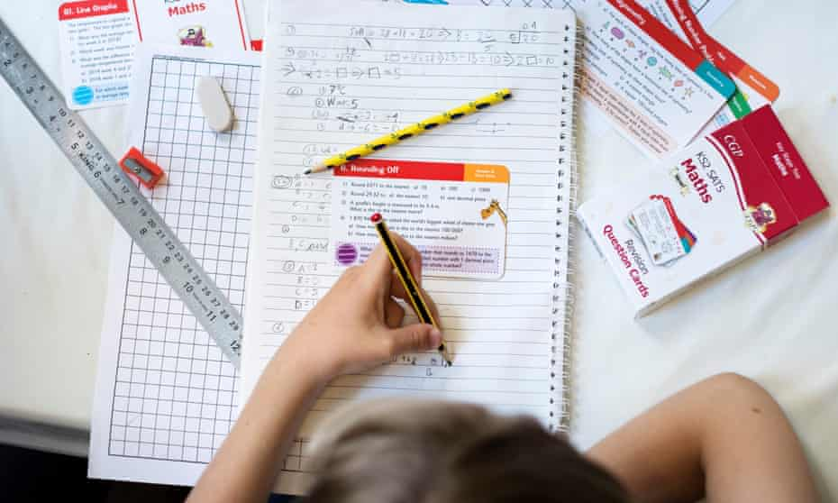 Maths revision during home schooling in the UK.