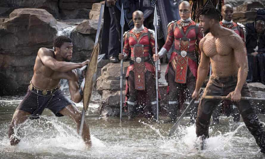 Chadwick Boseman, left, and Michael B Jordan face off in Black Panther.